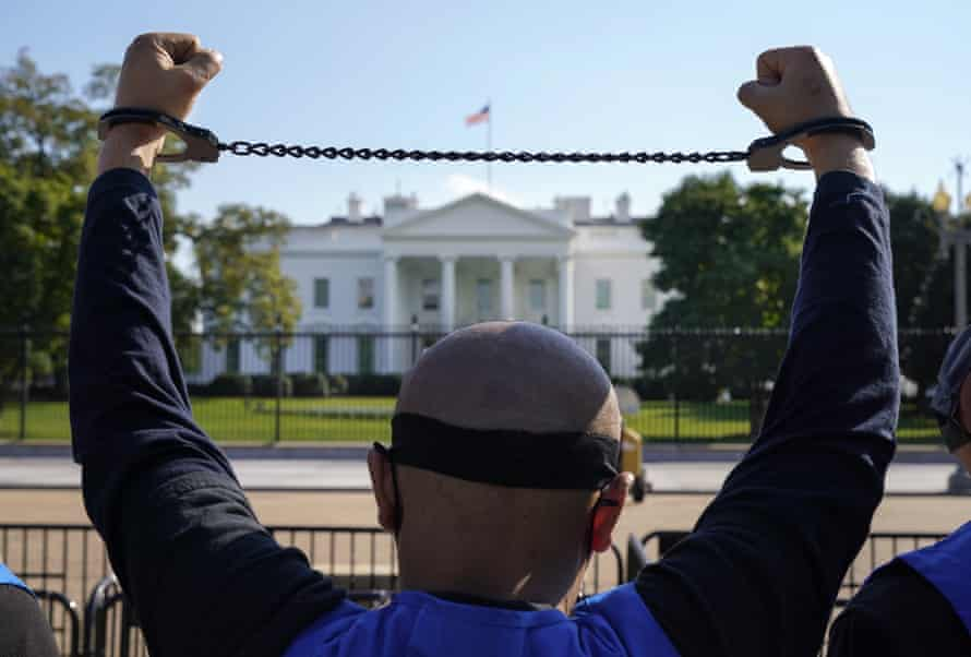A Uyghur-American activist rallies in front of the White House in support of the Uyghur Forced Labor Prevention Act, October 2020.