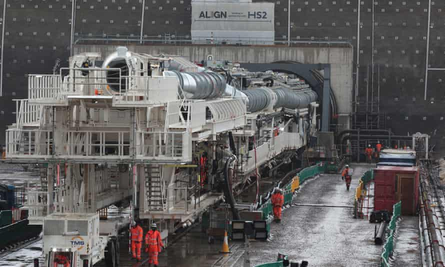 A tunnel boring machine called 'Florence' begins digging into the Chiltern Hills.