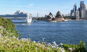 The Ruby Princess cruise ship departs Sydney Harbour with only crew on board, 19 March, 2020 in Sydney, Australia.