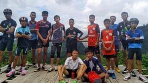 The Thai football team Moo Pa, or Wild Boar, who have been found after nine days of searching.