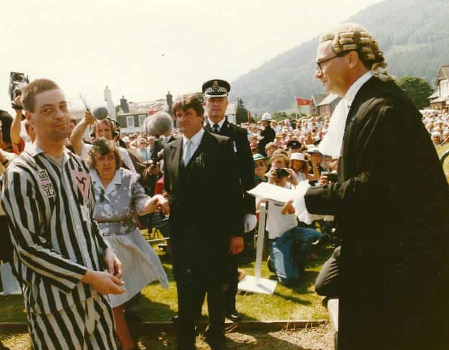 Pioneer … Alan Shea in his concentration camp uniform on Tynwald Day, 1991.