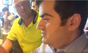 Sam Dastyari being harassed by members of a far-right group in a Melbourne bar.