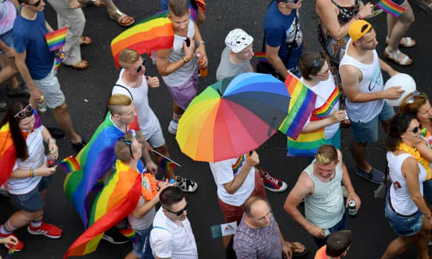Pride Parade in the Budapest. The Hungarian government is planning a new constitutional that limits LGBT rights.