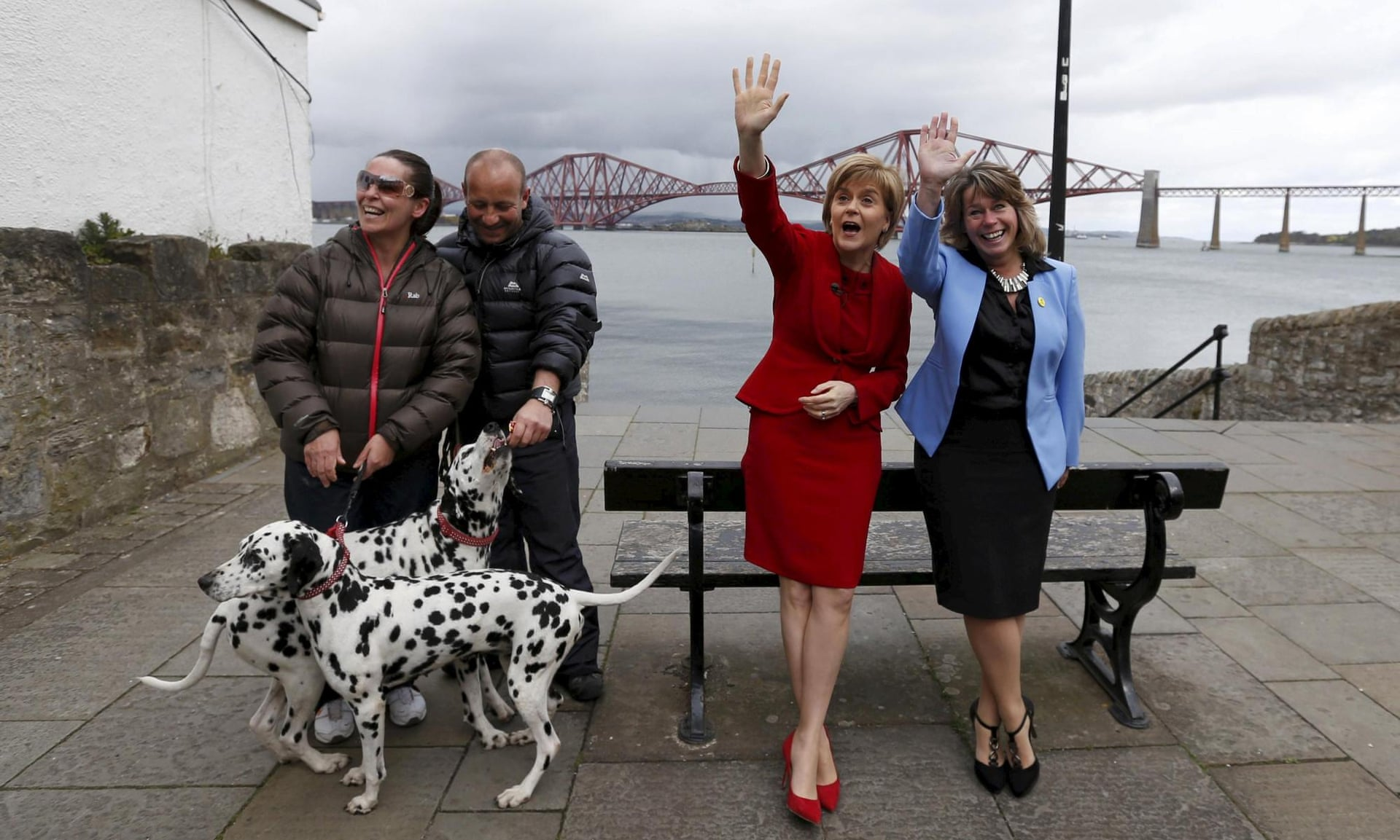 Nicola Sturgeon, the Scottish National party leader, with parliamentary candidate Michelle Thomson during a campaign visit to South Queensferry. Photograph: Russell Cheyne/Reuters