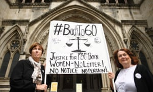 Anne Taylor (left) and Patsy Franklin from the campaign BackTo60 outside the Royal Courts of Justice in central London.