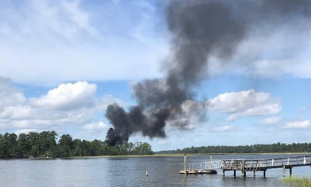 Smoke rises at the site of the crash in South Carolina.