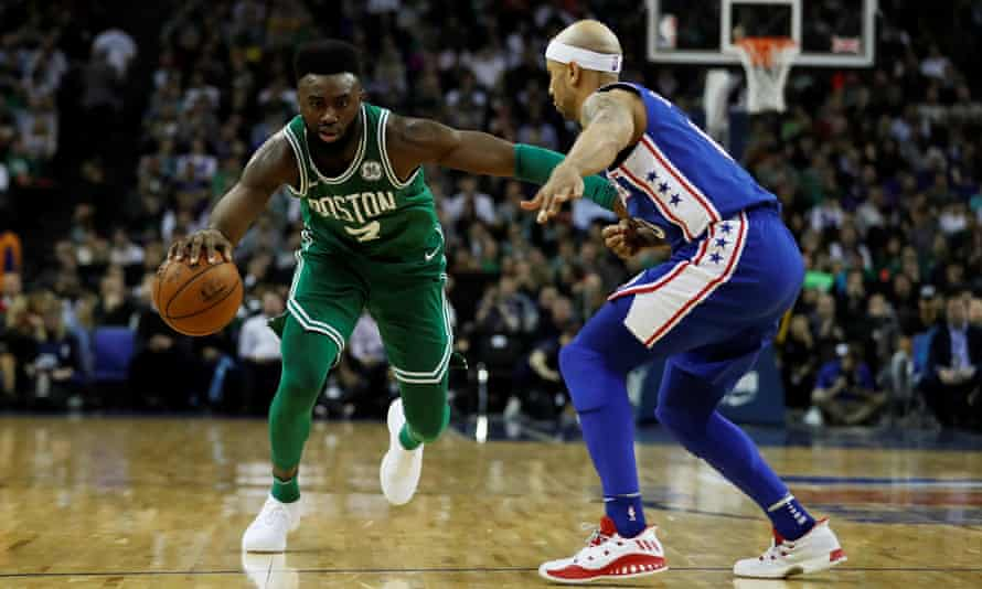 Jaylen Brown top-scored for the Celtics with 21 points as they rallied from 22 points down against Philadelphia.