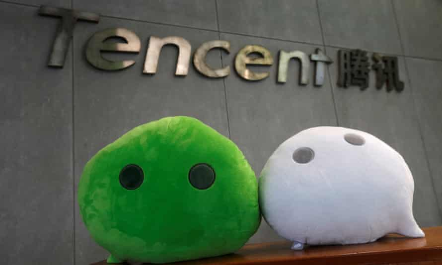 WeChat mascots at Tencent office in Guangzhou, China.