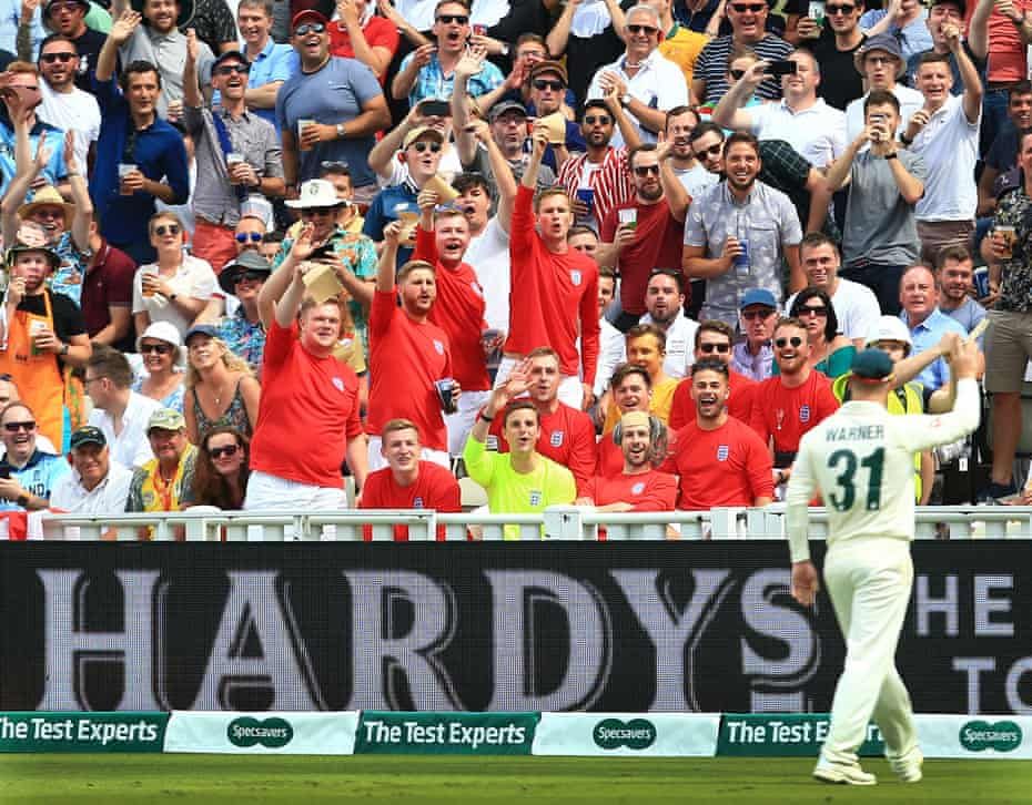 England fans wave sandpaper at David Warner