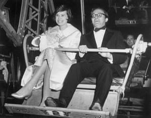 Vanderbilt with her third husband, director Sidney Lumet, at a funfair in 1960.