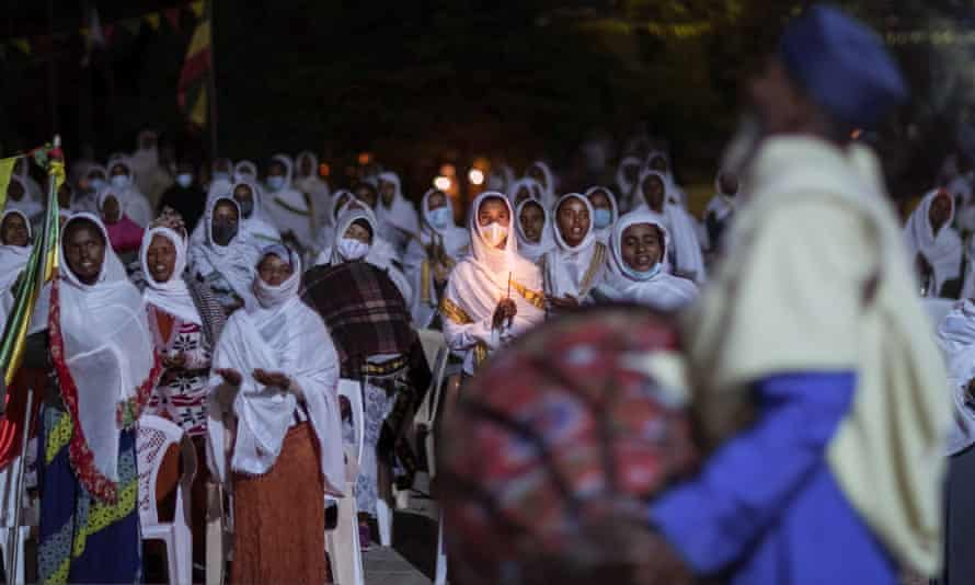 Citizens pray for peace at a church service in Addis Ababa, Ethiopia, on Thursday.