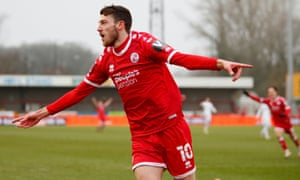 Crawley Town's Ashley Nadesan celebrates scoring their second goal.