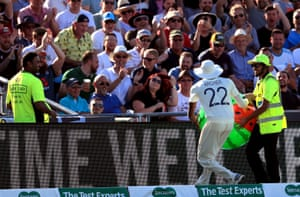 Jofra Archer throws an inflatable watermelon back into the crowd.