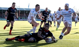 Maro Itoje touches down for a Saracens try against Racing 92.