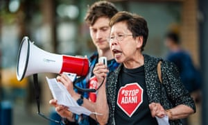 Audrey Cooke at a Stop Adani rally. The 72-year-old says she's 'an accidental activist'.