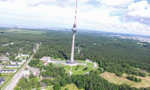 Aerial view of Tallinn from its Television Tower.