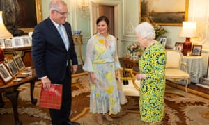 Scott and Jenny Morrison at a private audience with the Queen at Buckingham Palace