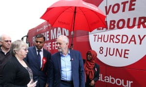 Labour leader Jeremy Corbyn and local parliamentary candidate Mohammad Yasin during a campaign visit to Bedford Guild House on Friday