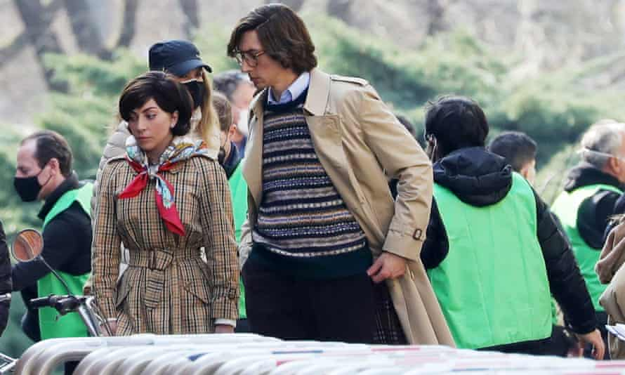 Lady Gaga and Adam Driver filming House of Gucci in Milan on 10 March.