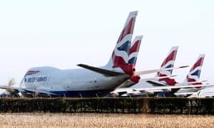 Grounded British Airways planes