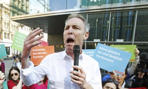 Scottish Labour leader Jim Murphy address a street rally in Glasgow.