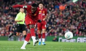 Liverpool's Divok Origi notes his team's fourth goal of bringing them back to level.