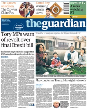 Guardian front page, Thursday 30 November 2017