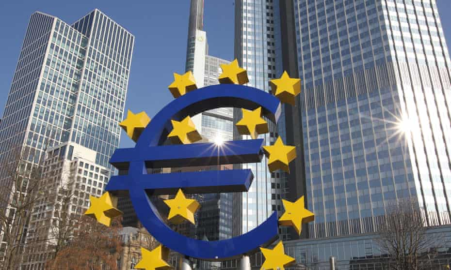 The financial district in Frankfurt, with big euro art installation