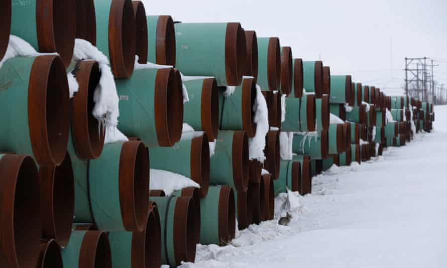 A depot used to store pipes for Transcanada Corp's planned Keystone XL oil pipeline is seen in Gascoyne, North Dakota, in January.