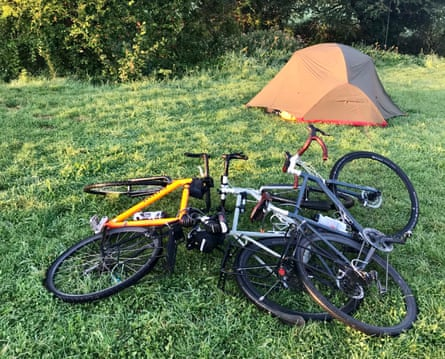 Carry on camping: one tent up and one to go as the riders wild camp near Glastonbury