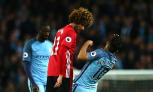 Manchester United's Marouane Fellaini was sent off for headbutting Sergio Agüero during the April 2017 derby.