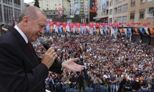 Turkey's president, Recep Tayyip Erdoğan, at a rally in the Black Sea region, 11 August.