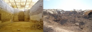The palace of Mari as I last saw it in 2008, with walls standing 5m high under a protective roof (left), and the palace as it appears in the new photos released by the Syrian Directorate-General of Antiquities and Museums, showing a pile of mudbrick rubble and the remains of the collapsed roof (right) .