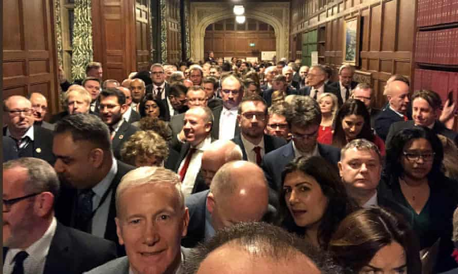 MPs queue to vote no in Tuesday night's Brexit division.