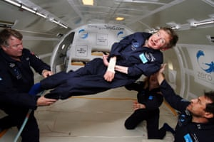 Stephen Hawking floating in a zero-gravity jet undertaking parabolic dips to simulate space conditions over the Atlantic Ocean