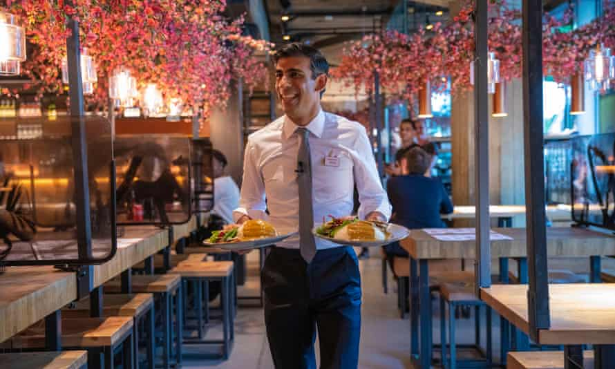 Rishi Sunak promoting 'eat out to help out' in a Wagamama restaurant.