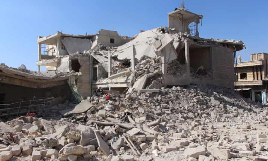 Damaged buildings in the town of Khan Sheikhoun after airstrikes from the Assad regime