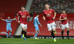 Manchester United's Scott McTominay celebrates their first goal.
