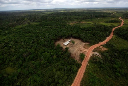 The construction site of an illegal sawmill is seen from a police helicopter in the Alto Guama river indigenous reserve in Nova Esperanca do Piria, Para State in Brazil. The Amazon rainforest is being eaten away by deforestation, caused by logging and large fires to clear land for agriculture.