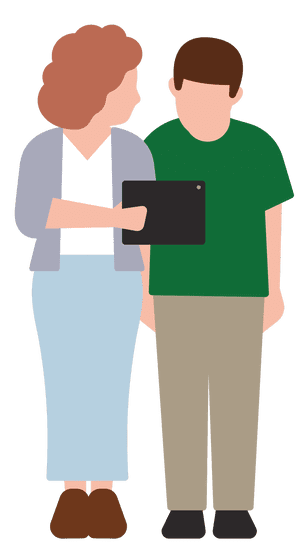 Illustration of mother showing son something on a tablet
