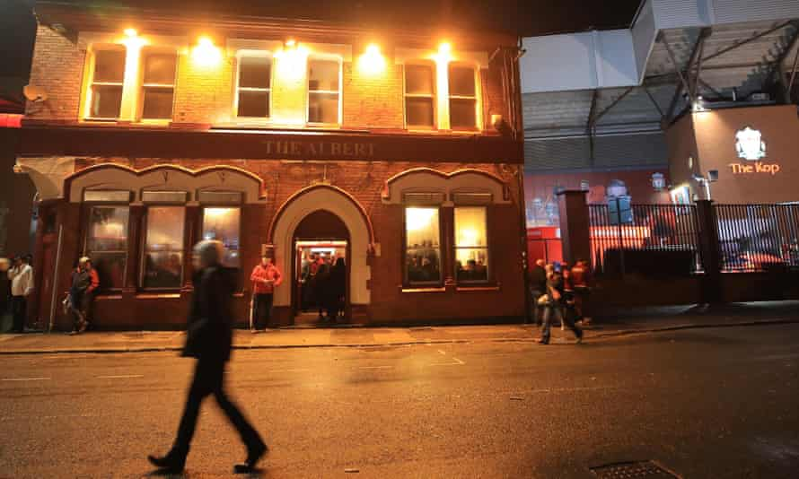 The Albert pub outside Anfield on a match day.