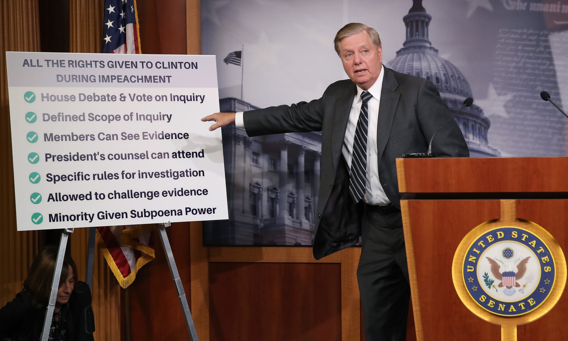 Lindsey Graham talks about the Clinton impeachment while introducing a resolution condemning the House impeachment inquiry. — Photograph: Mark Wilson/Getty Images.