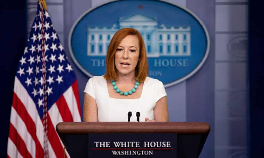 White House press secretary Jen Psaki briefs the press at the White House on Monday.