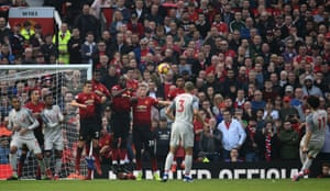 Salah sends his free kick over the bar.