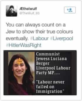 Garron Helm was jailed in 2014 for sending this antisemitic tweet to Berger.