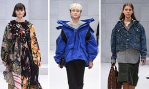 Demna Gvasalia's debut womenswear Balenciaga show, at Paris fashion week.