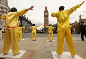 Falun Gong practioners protesting against their persecution by the Chinese government in London in 2009.