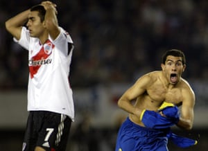 Boca's Carlos Tevez celebrates after scoring against River in 2004. He is back at Boca at the age of 34.