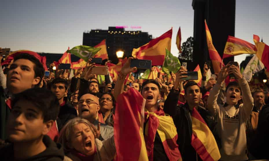 Vox party supporters at the closing election campaign event in Madrid.