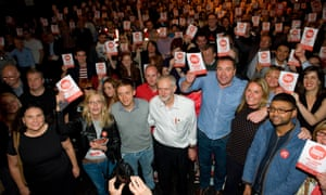 Jeremy Corbyn with supporters at a Labour leadership election rally in Glasgow.